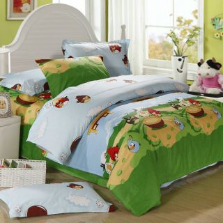 Angry Birds 4pc Kids Boys Twin Bedding Set Blue Green Duvet Cover Sheet Pillow