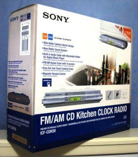 New Sony ICF CDK50 Under Cabinet Kitchen CD Clock Radio