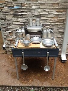 WWII Italian Field Kitchen Officers Mess Kit Cook Kitchen Mermite Stove