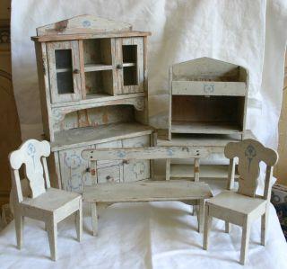 Antique Folk Art Doll Furniture Kitchen Set Painted Step Back Cupboard Table
