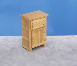 Dollhouse Mini Oak Ice Box Vintage Kitchen Furniture Shelves