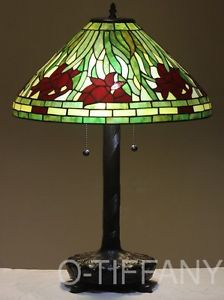 "Tiffany Style Stained Glass Table Lamp ""Daffodil"" w 20"" Shade Metal Base"