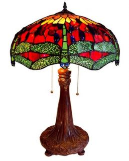 "Tiffany Style Stained Glass Dragonfly 2 Light Table Lamp 18"" Shade Handcrafted"