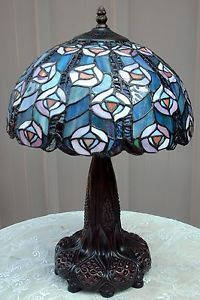 Stained Glass Tiffany Style Peacock Lamp Multi Color Shade Ornate Metal Base