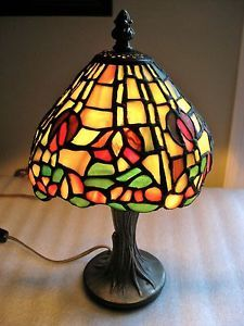 Stained Glass Tiffany Style Lamp 12 inch Metal Base Lovely Shade Design