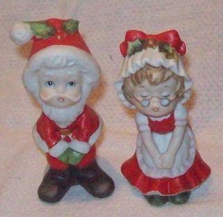 """Vintage Lefton Childlike Mr Mrs Santa Claus 3 1 4"""" Figurines Matte 02139"""