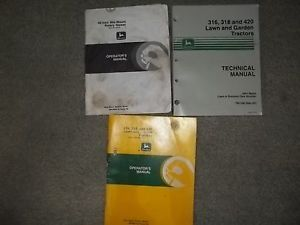 3 John Deere Lawn and Garden Tractor Manuals 316 318 420