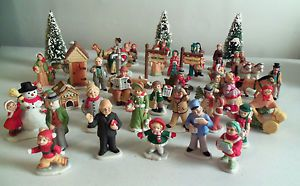 Large 42 PC Lot of Lefton China Colonial Village Christmas Figurines 1986 1992