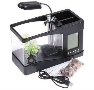 USB Mini Desktop Aquarium Fish Tank Desk LCD Alarm Clock w Calendar Table Lamp