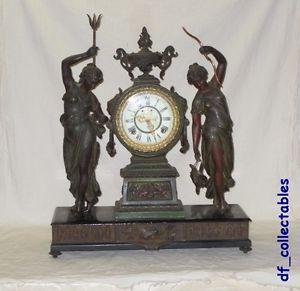 RARE Antique Ansonia Fisher Hunter Double Figural Statue Mantle Shelf Clock