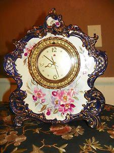 Antique Flow Blue Porcelain China Mantle Clock La Vogue Royal Bonn Clock