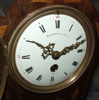 Antique Inlaid Mahogany 31 Day Balloon Bracket Mantel Clock Elkington Paris