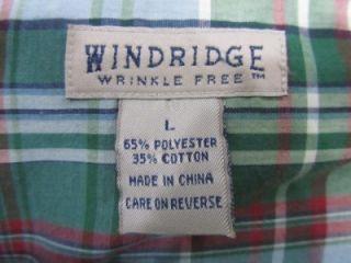 Men's Windridge Green Plaid SS Button Front Shirt Sz L Wrinkle Free
