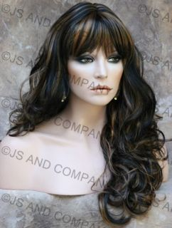 Sexy Bouncy Long Wavy Curly Black Blonde Mix Wig Jsca 1B 27