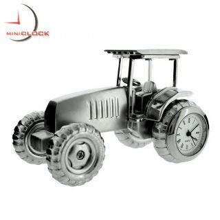 Miniature Clock Mini Silver Farm Tractor w Moving Wheels