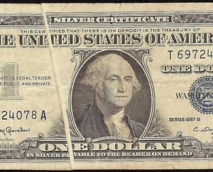 1957 B $1 Dollar Bill Gutter Fold Error Note Silver Certificate Paper Money