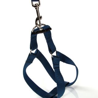 Blue Easy Walk Pet Dog Nylon Harness Leader with Pull Free Leashes Size S