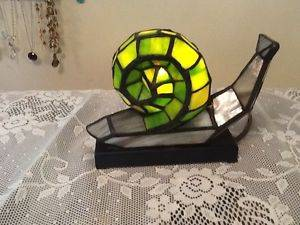 Tiffany Style Snail Stained Glass Night Light Lamp
