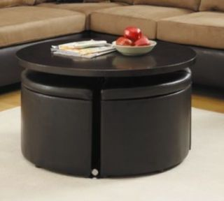 Round Cocktail Coffee Table Storage Ottomans Dining Set w Hydraulic Lift