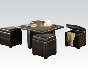 Acme 80816 Elva 5 Piece Coffee Table Storage Ottomans Set