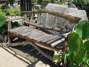 Rustic Driftwood Log Garden Bench Stool Primitive Cabin Furniture Barn Old Wood