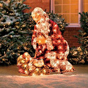 Twinkling Lighted Santa Kneeling Over Jesus Outdoor Christmas Yard Decor New