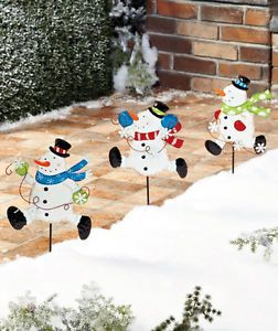 3 Metal Snowman Garden Stakes Christmas Holiday Outdoor Yard Decor