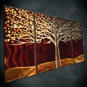 New red hot metal modern art painting abstract wall decor office - Exterior metal paint colours decor ...