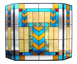 "Handcrafted 41"" x 29"" Tiffany Style Stained Glass Fireplace Screen"