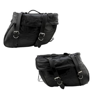 Harley XLH 883 Sportster Hugger Genuine Leather Saddlebag Set 2 PC