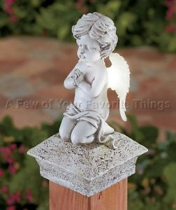 Solar Guardian Angel Fence Post Light Deck Porch Garden Memorial Outdoor Decor