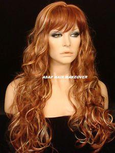 New Multi Color Light Dark Auburn Blonde Mix Long Loose Curly Wig Wigs