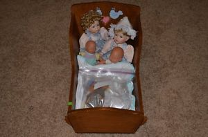 Wood Wooden 2 Foot Long Cradle Crib for Baby Doll Bed with Dolls and Blankets