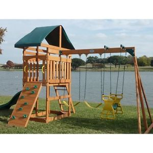 Kids Outdoor Swing Set Wood Canopy 2 Swings Glider Rock Wall Wave ...