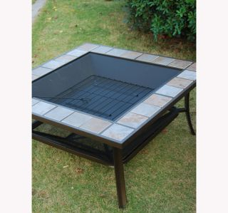 Outdoor Patio Metal Fire Pit Stove Grill Square Fireplace Heater with Free Cover