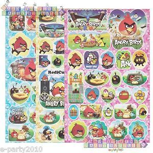 3 Sheets 141 Angry Birds Stickers Birthday Party Supplies Favors Red Black