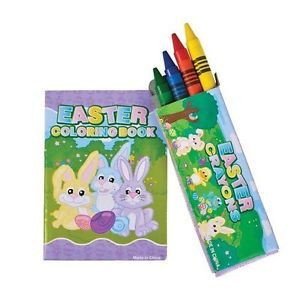 """12 Mini Easter Coloring Books Crayon Sets 4 Pack Crayons 3 5"""" Book New"""