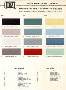 1962 Plymouth Paint Color Sample Chips Card Colors