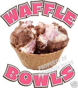 "Waffle Bowls Decal 14"" Ice Cream Sundae Restaurant Concession Food Truck Sticker"