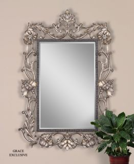 Baronissi Large Ornate Silver Wall Mirror