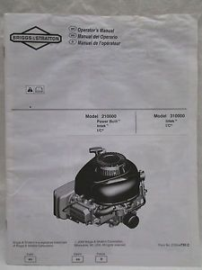 Briggs Stratton Power Built Engine Operator's Manual Model No 210000 310000
