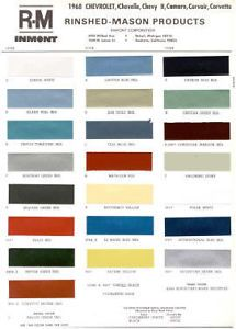 1968 Chevy Paint Color Sample Chips Card Colors