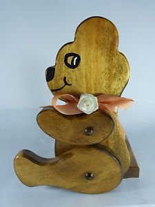 Wood Carved Bear Toilet Paper Holder Stand Table Top Handmade Paper Towel