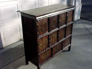 Antique Hand Painted Tibetan Cabinet 4 Door Chest Asian Furniture 42x16x42 Tibet
