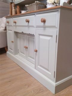 Solid Pine Shabby Chic Painted Welsh Dresser Kitchen Unit Furniture Farrow B