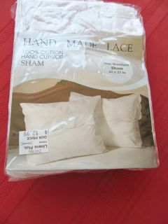 1 Hand Made Lace Cutwork Crochet Pillow Sham Pillowcase NIP Standard White