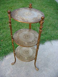 Vintage Angel Baroque Art Nouveau Style Three Tier Cast Metal Table Plant Stand