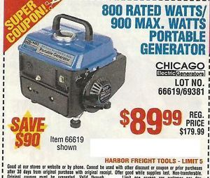 Harbor Freight Coupon for 800 Rated Watts 900 Max Watts Portable Generator