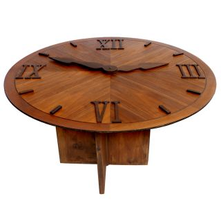 "47"" Vintage Clock Wood Dining Round Table"