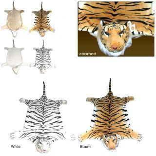 Large Faux Fur Tiger Animal Skin Floor Wall Rug Bengal Siberian White Tigers